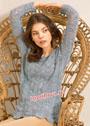 Серо-голубой пуловер с волнистым узором. Спицы
