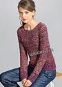 Меланжевый пуловер с узором из снятых петель. Спицы
