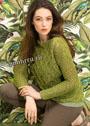 Зеленый ажурный пуловер с вырезом-лодочкой. Спицы