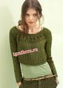 Оливково-зеленый пуловер с круглой ажурной кокеткой. Спицы