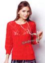 Женственный красный пуловер с ажурными рукавами и кокеткой. Спицы