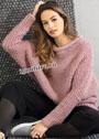 Свободный розовый пуловер с рукавами летучая мышь. Спицы