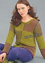 Двухцветный пуловер с узором из снятых петель. Спицы