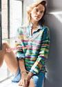 Разноцветный шерстяной пуловер из пряжи секционного крашения. Спицы