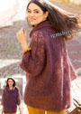 Свободный мохеровый пуловер с ажурным узором. Спицы