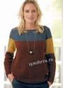 Трехцветный теплый пуловер с кокеткой. Спицы