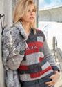 Теплый пуловер с узором из трехцветных блоков. Спицы