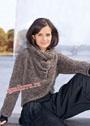 Коричневый пуловер с воротником-шарфом. Спицы