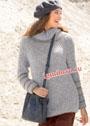 Серый теплый пуловер с патентным узором и рубчиками. Спицы