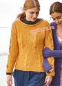 Медово-оранжевый теплый пуловер с узорным миксом. Спицы