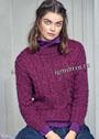 Теплый и мягкий пуловер цвета фуксии с миксом узоров из кос. Спицы