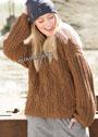 Просторный коричневый пуловер-oversize с миксом узоров. Спицы