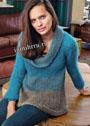 Двухцветный мохеровый пуловер с драпирующимся воротником. Спицы