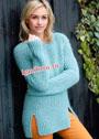 Теплый мягкий пуловер в резинку, с боковыми разрезами. Спицы