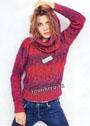 Красно-бордовый теплый пуловер с воротником-хомутом. Спицы