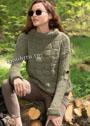 Теплый пуловер цвета хаки со структурным узором. Спицы