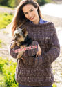 Просторный многоцветный пуловер с косами. Спицы