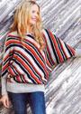 Пуловер с разноцветными диагональными полосками. Спицы