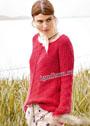 Красный шерстяной пуловер с узором из снятых петель. Спицы
