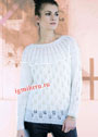 Белый ажурный пуловер с круглой кокеткой. Спицы