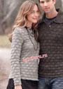 Серый пуловер в стиле casual с застежкой поло. Спицы