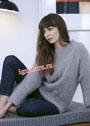 Серый теплый пуловер из патентной резинки. Спицы