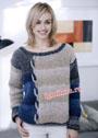 Мягкий пушистый пуловер с асимметричным декором. Спицы