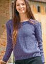 Сиреневый пуловер с небольшим вырезом на спинке и косой. Спицы