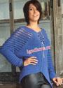 Синий теплый пуловер с ажурными рукавами. Спицы