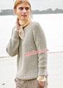 Лаконичный шерстяной пуловер-реглан цвета шелка-сырца. Спицы
