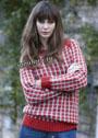 Красно-серый жаккардовый пуловер из чистошерстяной пряжи. Спицы