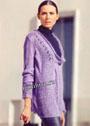 Сиреневый мохеровый пуловер с глубоким вырезом. Спицы
