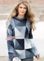 Оригинальный пуловер в стиле пэчворк. Спицы