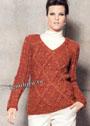 Красно-рыжий пуловер с ромбами. Спицы