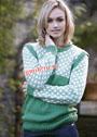Зелено-белый шерстяной пуловер с жаккардовой кокеткой и рукавами. Спицы