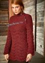 Темно-красный пуловер с волнистым ажурным узором. Спицы