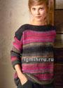 Современный повседневный стиль. Пуловер с разноцветными полосками. Спицы