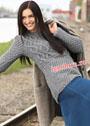 Серо-голубой шерстяной пуловер с сочетанием узоров. Спицы