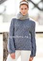 Серо-синий пуловер с ажурными узорами с косами. Спицы