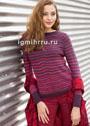 Пуловер в бордово-красных тонах, с полосками и рельефным мотивом. Спицы