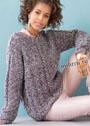 Свободный меланжевый пуловер с рельефными узорами. Спицы