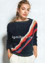 Черный пуловер с контрастными диагональными полосами. Спицы