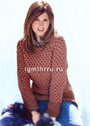 Двусторонний теплый пуловер с теневым узором соты. Спицы