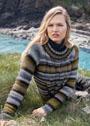 Теплый пуловер с разноцветными полосами и вертикальными косами. Спицы