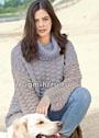 Серо-голубой теплый пуловер со структурным узором и воротником гольф. Спицы