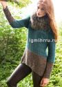 Двухцветный повседневный пуловер простой вязки. Спицы