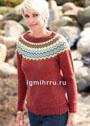 Красный пуловер с круглой жаккардовой кокеткой. Спицы