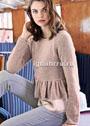 Женственный пуловер цвета увядшей розы с баской. Спицы