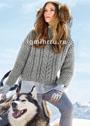 Светло-серый шерстяной пуловер с коллажем узоров. Спицы