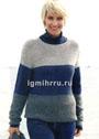 Теплый повседневный пуловер в широкую полоску. Спицы